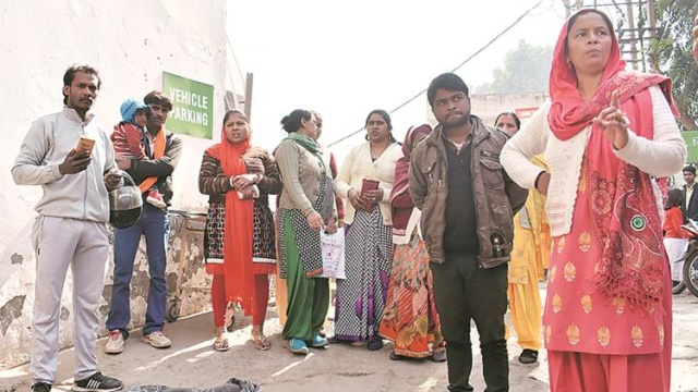 Outside the Civil Hospital in Gurgaon where the woman gave birth. (Express Photo by Manoj Kumar)