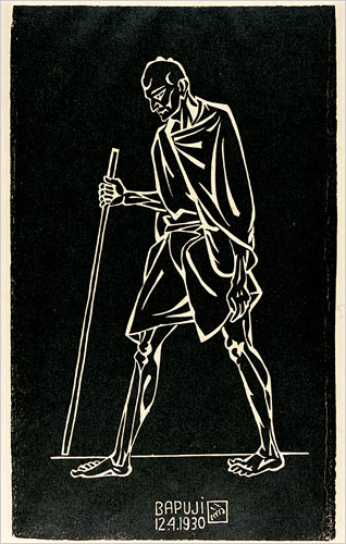 """Bapuji"" -- Painting by Nandalal Bose Illustration by Nandalal Bose marking the 1930 Dandi March"