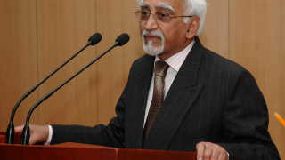 """The Vice President, Mohammad Hamid Ansari addressing at the release of the book titled """"Rescuing the Future Bequeathed Misperceptions in International Relations"""", authored by Dr. Jagat Singh Mehta, in New Delhi on February 1, 2008."""
