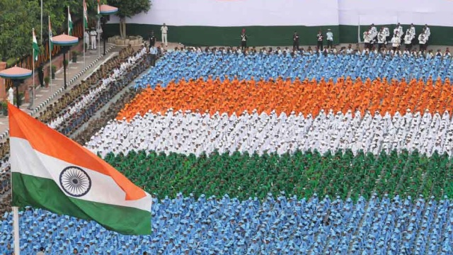 The children in tricolour formation at the Historic Red Fort, on the occasion of Independence Day, in Delhi on 15 August 2017.Image courtesy PIB