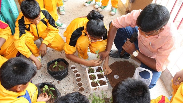 Interacting with children on organic farming