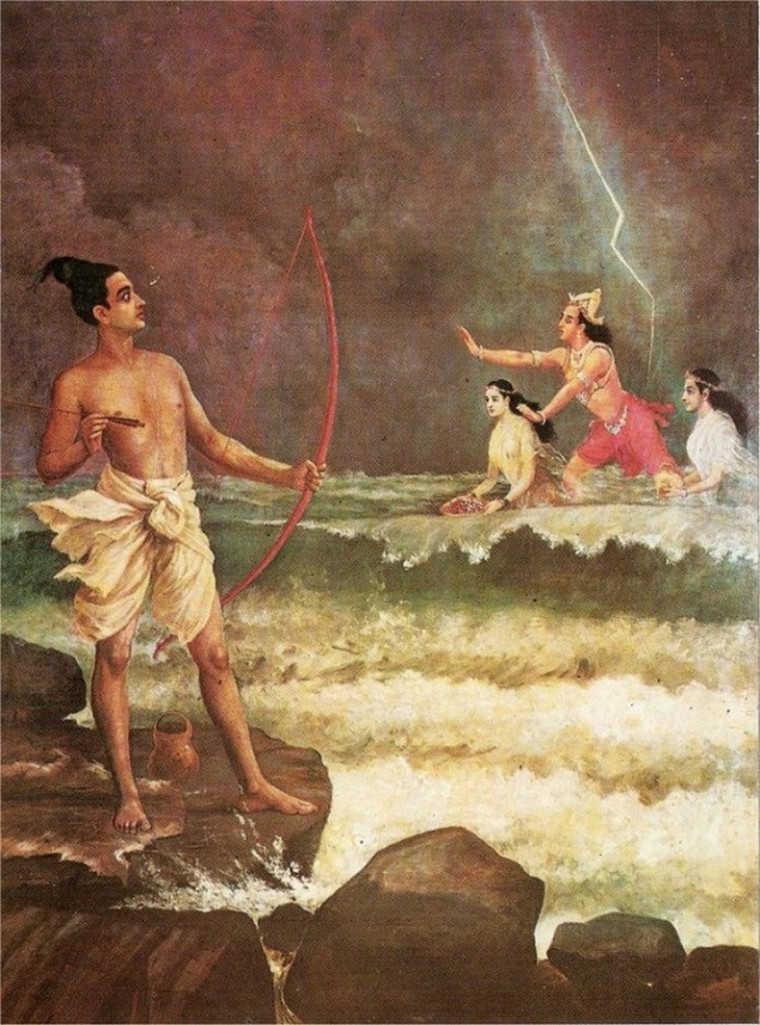 Sri Rama Conquers Varuna by Raja Ravi Varma